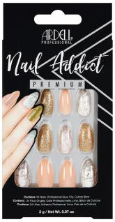 Nehty Ardell Nail Addict Premium - Pink Marble & Gold